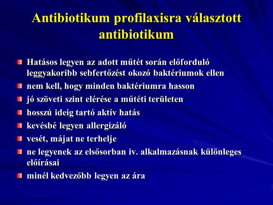 Antibiotikum profilaxisra választott antibiotikum Hatásos legyen az adott műtét során előforduló leggyakoribb sebfertőzést okozó baktériumok ellen nem