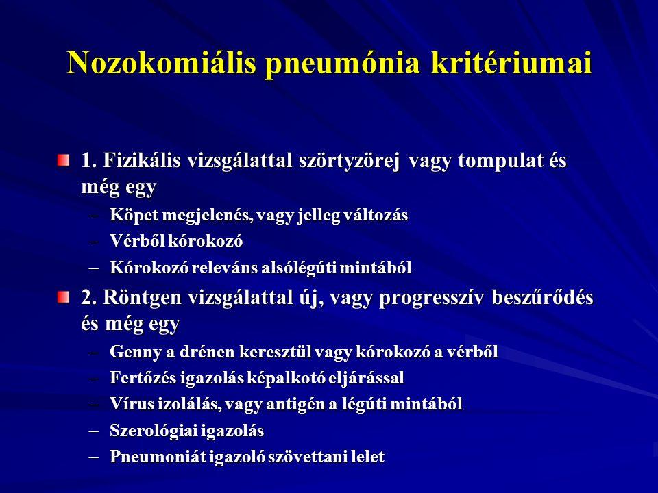 Nozokomiális pneumónia kritériumai 1. Fizikális vizsgálattal szörtyzörej vagy tompulat és még egy –Köpet megjelenés, vagy jelleg változás –Vérből kóro