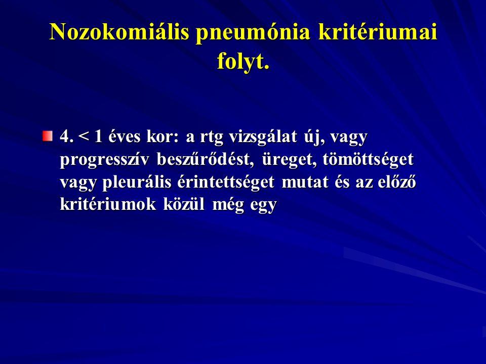 Nozokomiális pneumónia kritériumai folyt. 4. < 1 éves kor: a rtg vizsgálat új, vagy progresszív beszűrődést, üreget, tömöttséget vagy pleurális érinte