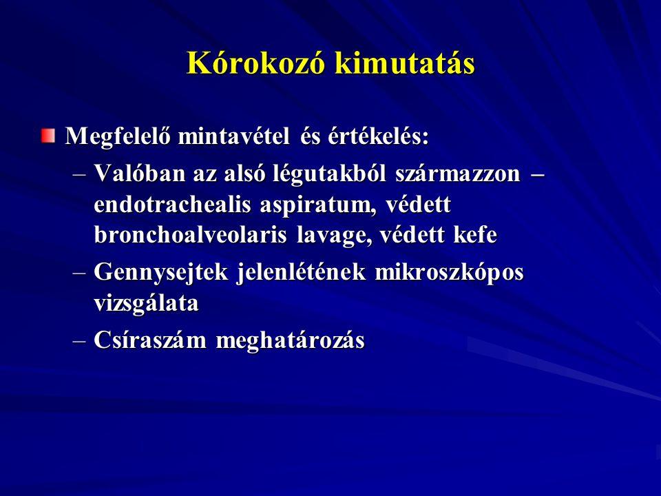 Kórokozó kimutatás Megfelelő mintavétel és értékelés: –Valóban az alsó légutakból származzon – endotrachealis aspiratum, védett bronchoalveolaris lava