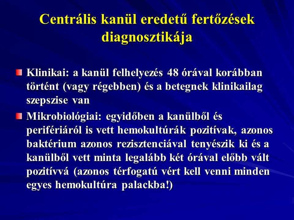 Centrális kanül eredetű fertőzések diagnosztikája Klinikai: a kanül felhelyezés 48 órával korábban történt (vagy régebben) és a betegnek klinikailag s