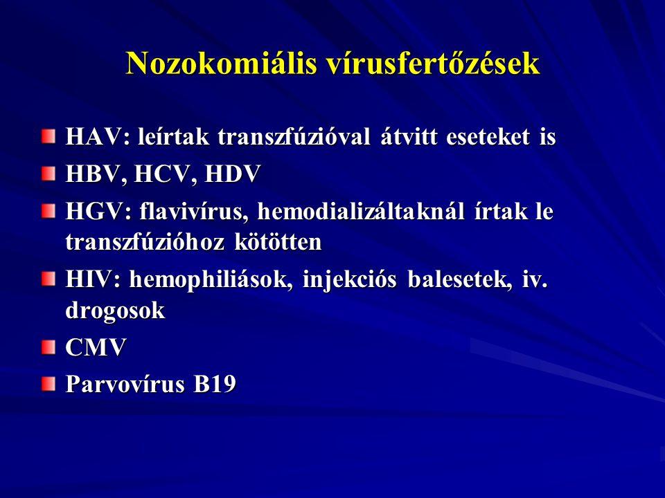 Nozokomiális vírusfertőzések HAV: leírtak transzfúzióval átvitt eseteket is HBV, HCV, HDV HGV: flavivírus, hemodializáltaknál írtak le transzfúzióhoz