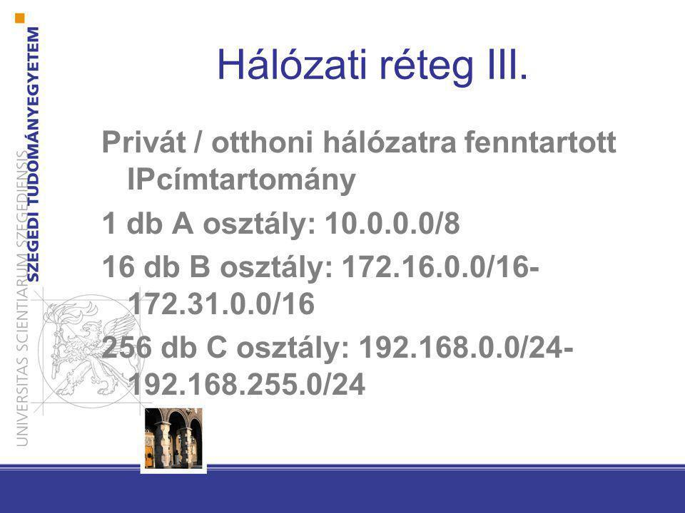 Hálózati réteg III. Privát / otthoni hálózatra fenntartott IPcímtartomány 1 db A osztály: 10.0.0.0/8 16 db B osztály: 172.16.0.0/16- 172.31.0.0/16 256
