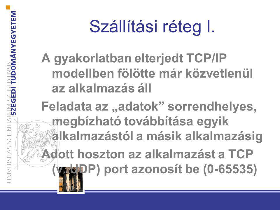 """Szállítási réteg I. A gyakorlatban elterjedt TCP/IP modellben fölötte már közvetlenül az alkalmazás áll Feladata az """"adatok"""" sorrendhelyes, megbízható"""