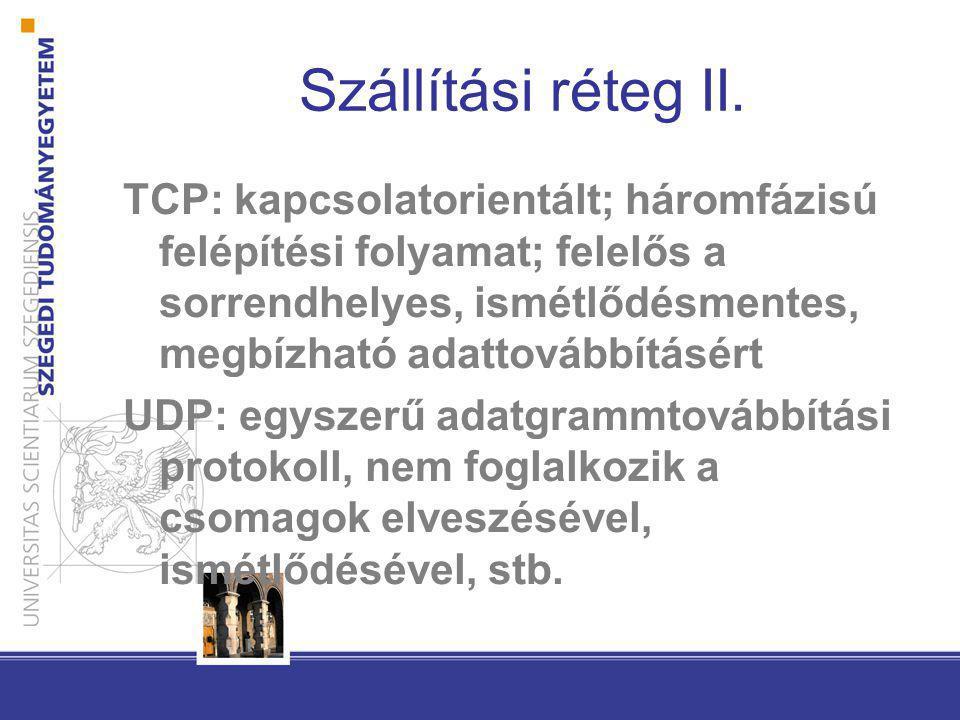 Szállítási réteg II. TCP: kapcsolatorientált; háromfázisú felépítési folyamat; felelős a sorrendhelyes, ismétlődésmentes, megbízható adattovábbításért