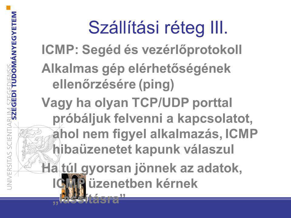 Szállítási réteg III. ICMP: Segéd és vezérlőprotokoll Alkalmas gép elérhetőségének ellenőrzésére (ping) Vagy ha olyan TCP/UDP porttal próbáljuk felven