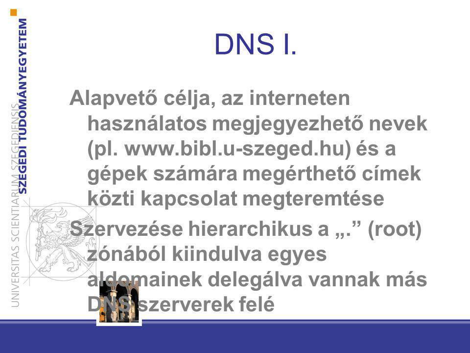 DNS I. Alapvető célja, az interneten használatos megjegyezhető nevek (pl. www.bibl.u-szeged.hu) és a gépek számára megérthető címek közti kapcsolat me