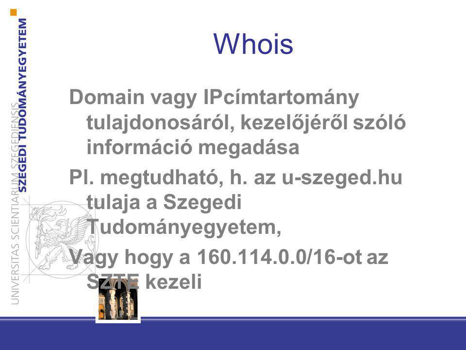 Whois Domain vagy IPcímtartomány tulajdonosáról, kezelőjéről szóló információ megadása Pl. megtudható, h. az u-szeged.hu tulaja a Szegedi Tudományegye