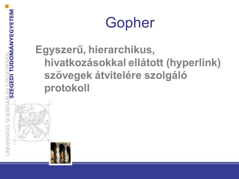 Gopher Egyszerű, hierarchikus, hivatkozásokkal ellátott (hyperlink) szövegek átvitelére szolgáló protokoll
