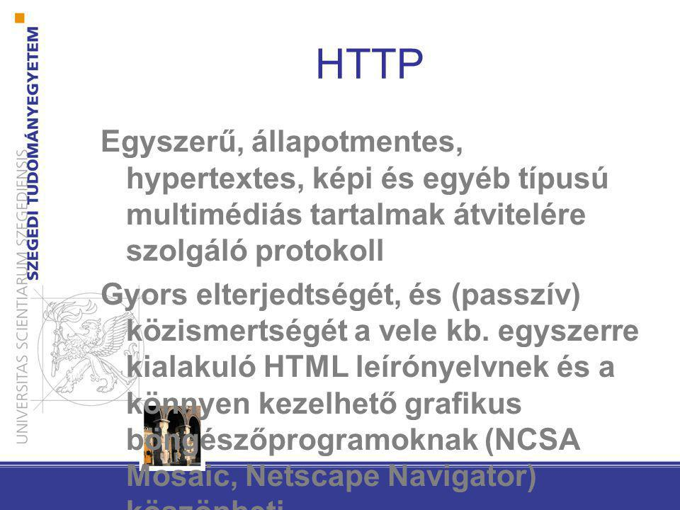 HTTP Egyszerű, állapotmentes, hypertextes, képi és egyéb típusú multimédiás tartalmak átvitelére szolgáló protokoll Gyors elterjedtségét, és (passzív) közismertségét a vele kb.