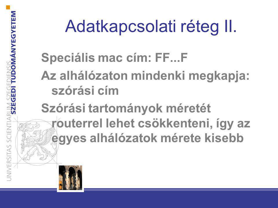 Adatkapcsolati réteg II. Speciális mac cím: FF...F Az alhálózaton mindenki megkapja: szórási cím Szórási tartományok méretét routerrel lehet csökkente