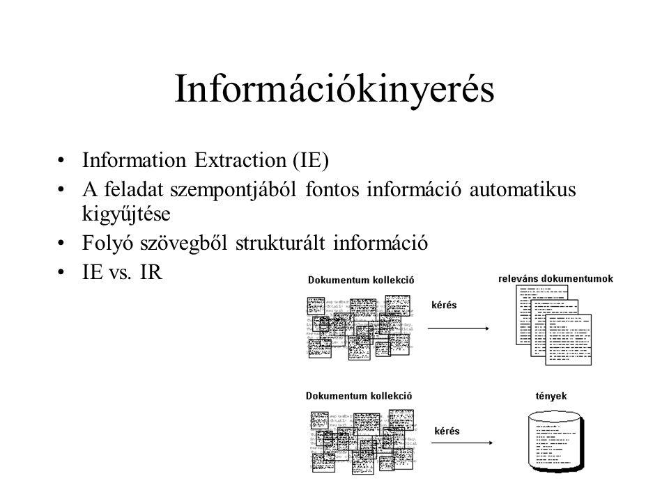 Információkinyerés Information Extraction (IE) A feladat szempontjából fontos információ automatikus kigyűjtése Folyó szövegből strukturált információ