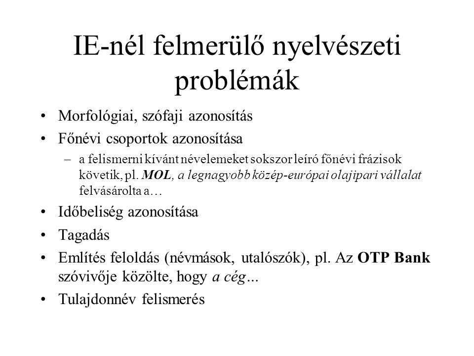 IE-nél felmerülő nyelvészeti problémák Morfológiai, szófaji azonosítás Főnévi csoportok azonosítása –a felismerni kívánt névelemeket sokszor leíró főn