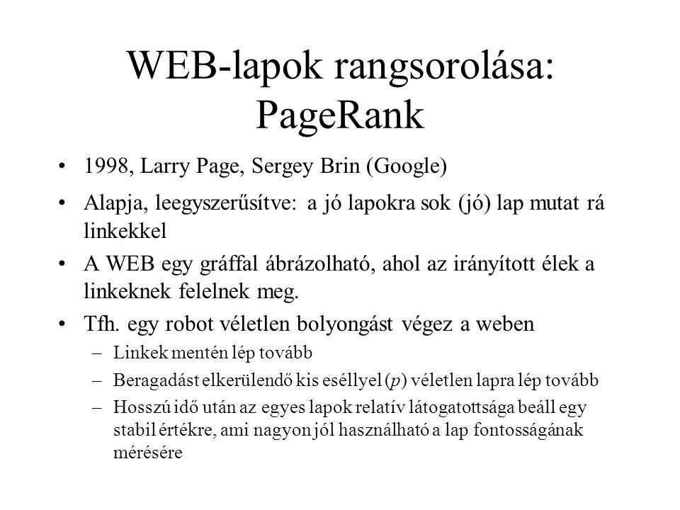 WEB-lapok rangsorolása: PageRank 1998, Larry Page, Sergey Brin (Google) Alapja, leegyszerűsítve: a jó lapokra sok (jó) lap mutat rá linkekkel A WEB eg