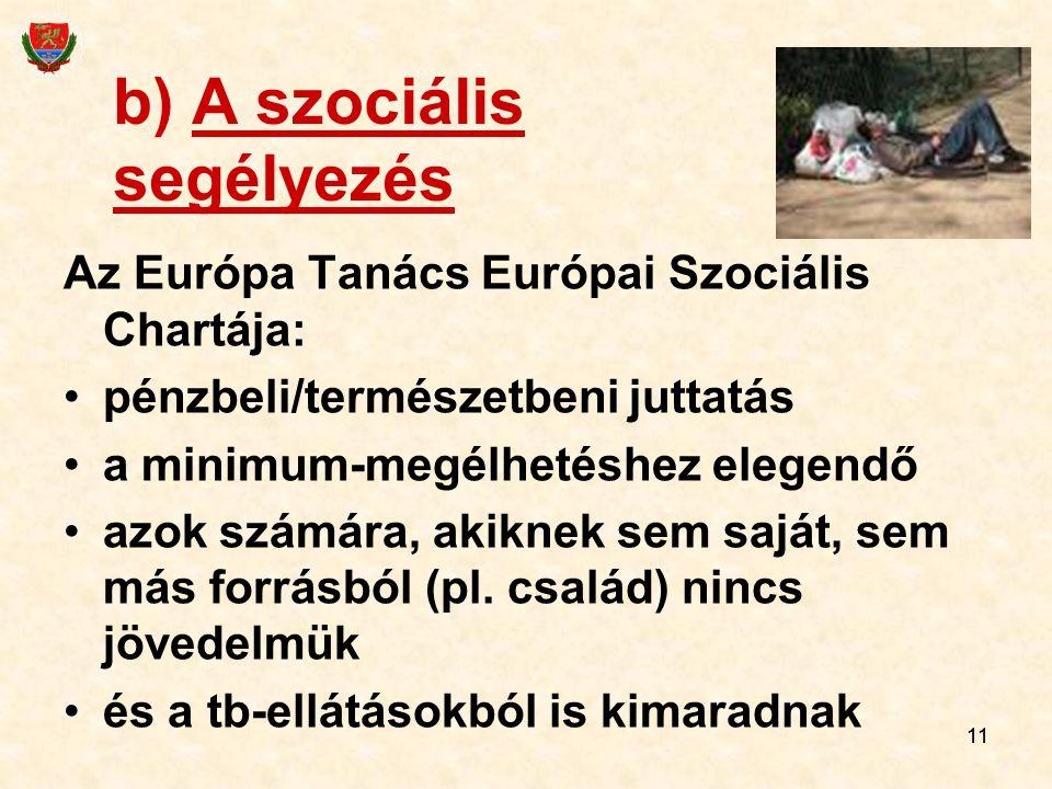 11 b) A szociális segélyezés Az Európa Tanács Európai Szociális Chartája: pénzbeli/természetbeni juttatás a minimum-megélhetéshez elegendő azok számára, akiknek sem saját, sem más forrásból (pl.