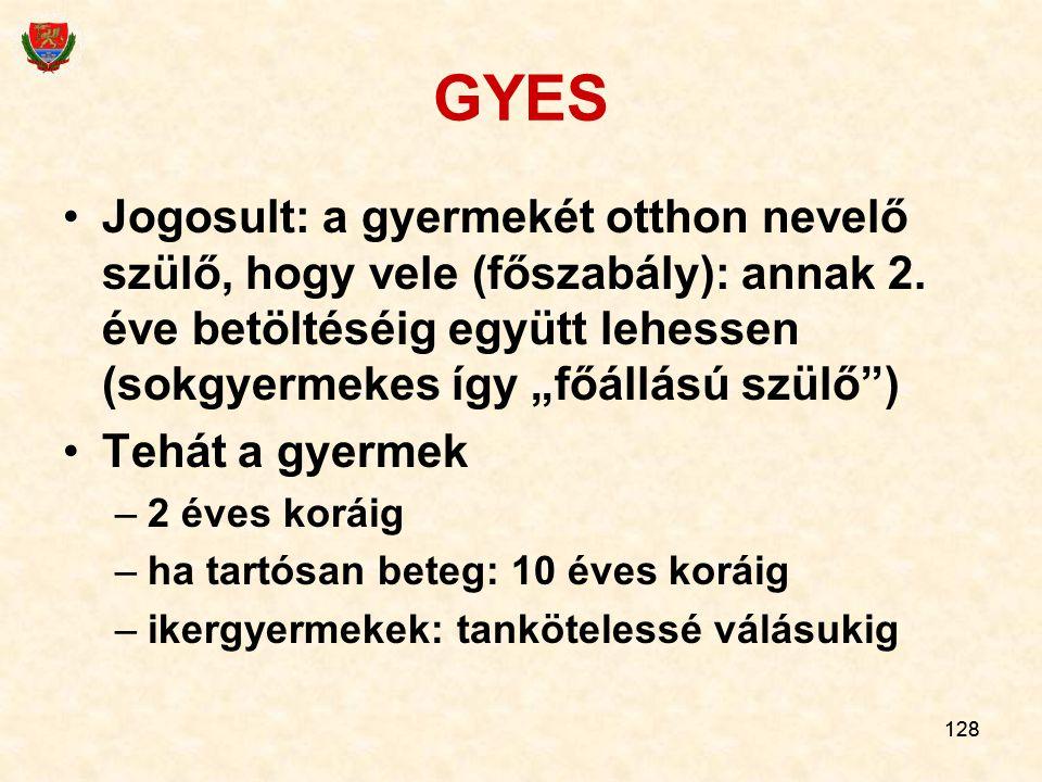 128 GYES Jogosult: a gyermekét otthon nevelő szülő, hogy vele (főszabály): annak 2.