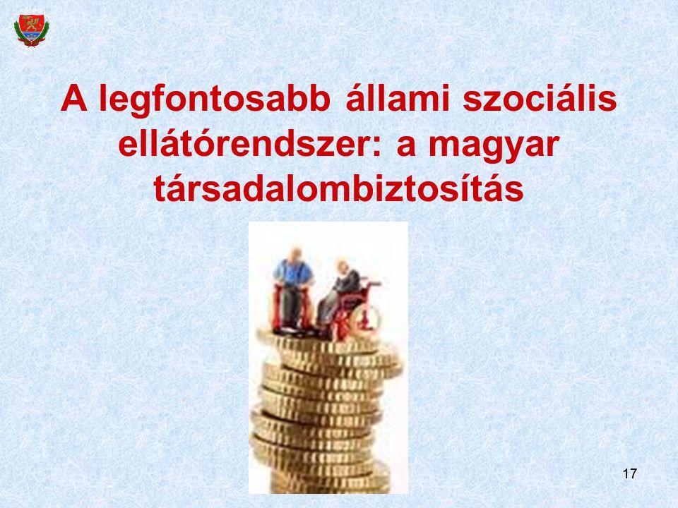 17 A legfontosabb állami szociális ellátórendszer: a magyar társadalombiztosítás