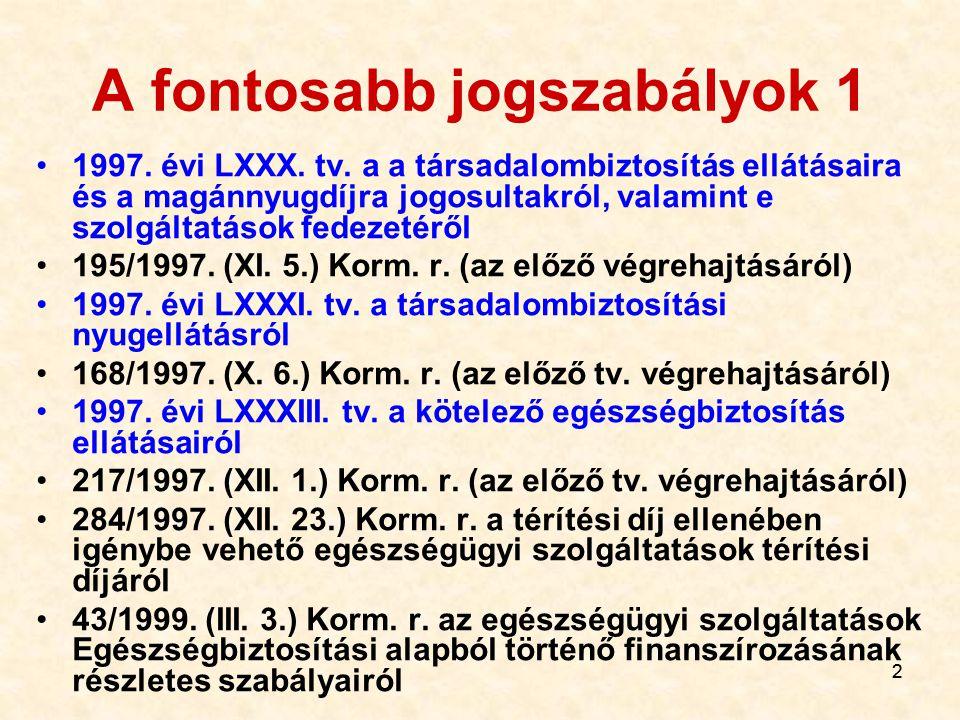 22 A fontosabb jogszabályok 1 1997.évi LXXX. tv.