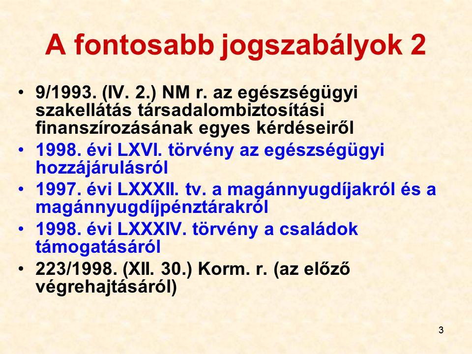 33 A fontosabb jogszabályok 2 9/1993.(IV. 2.) NM r.
