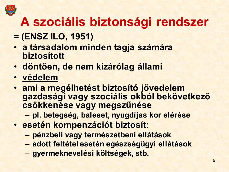 55 A szociális biztonsági rendszer = (ENSZ ILO, 1951) a társadalom minden tagja számára biztosított döntően, de nem kizárólag állami védelem ami a megélhetést biztosító jövedelem gazdasági vagy szociális okból bekövetkező csökkenése vagy megszűnése –pl.