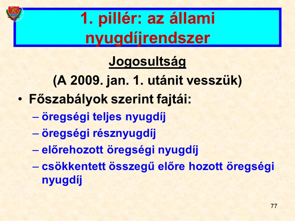 77 1.pillér: az állami nyugdíjrendszer Jogosultság (A 2009.