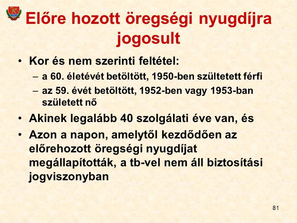 81 Előre hozott öregségi nyugdíjra jogosult Kor és nem szerinti feltétel: –a 60.