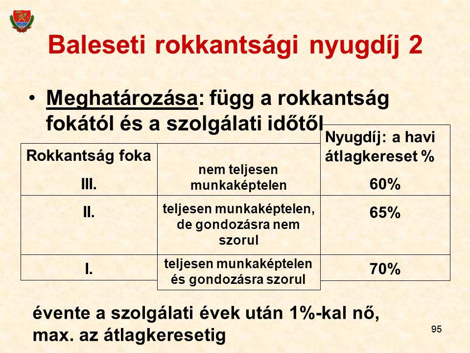 95 Baleseti rokkantsági nyugdíj 2 Meghatározása: függ a rokkantság fokától és a szolgálati időtől Rokkantság foka III.