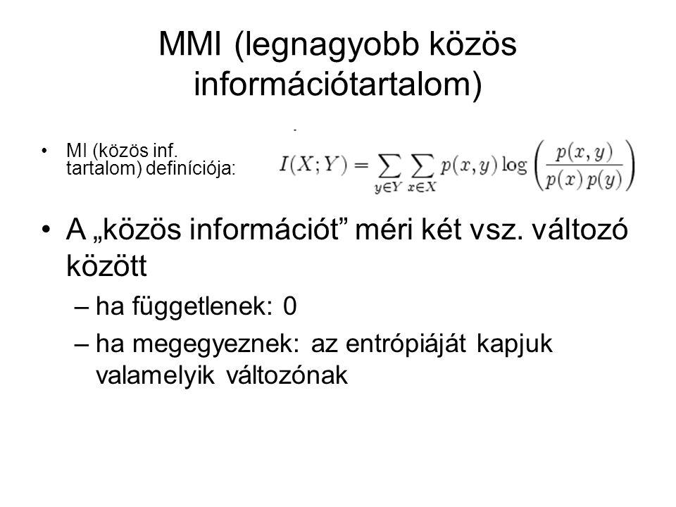 """MMI (legnagyobb közös információtartalom) MI (közös inf. tartalom) definíciója: A """"közös információt"""" méri két vsz. változó között –ha függetlenek: 0"""