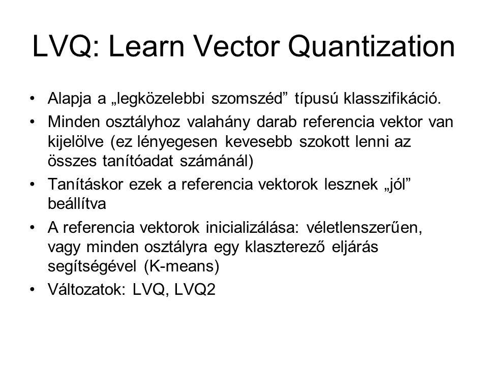 """LVQ: Learn Vector Quantization Alapja a """"legközelebbi szomszéd"""" típusú klasszifikáció. Minden osztályhoz valahány darab referencia vektor van kijelölv"""
