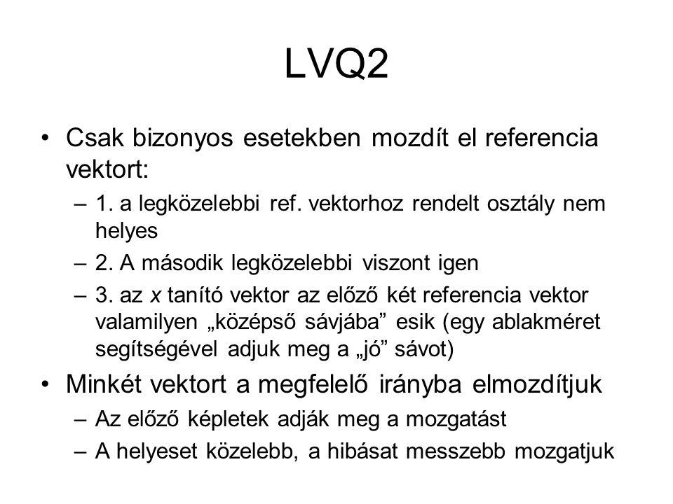 LVQ2 Csak bizonyos esetekben mozdít el referencia vektort: –1. a legközelebbi ref. vektorhoz rendelt osztály nem helyes –2. A második legközelebbi vis
