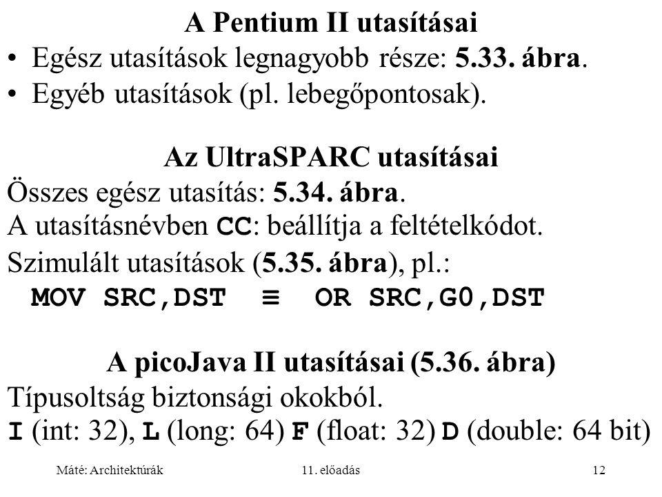 Máté: Architektúrák11. előadás12 A Pentium II utasításai Egész utasítások legnagyobb része: 5.33. ábra. Egyéb utasítások (pl. lebegőpontosak). Az Ultr