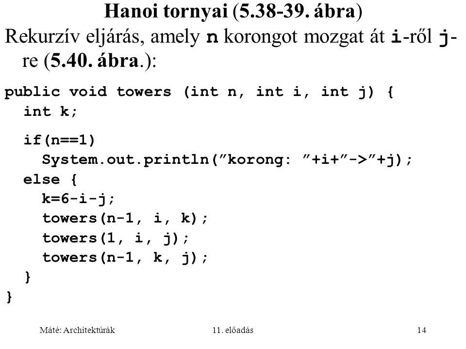 Máté: Architektúrák11. előadás14 Hanoi tornyai (5.38-39. ábra) Rekurzív eljárás, amely n korongot mozgat át i -ről j - re (5.40. ábra.): public void t