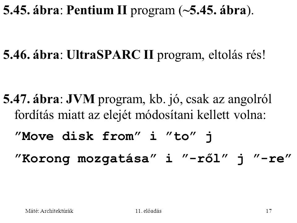 Máté: Architektúrák11. előadás17 5.45. ábra: Pentium II program (~5.45. ábra). 5.46. ábra: UltraSPARC II program, eltolás rés! 5.47. ábra: JVM program