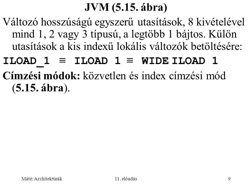 Máté: Architektúrák11. előadás9 JVM (5.15. ábra) Változó hosszúságú egyszerű utasítások, 8 kivételével mind 1, 2 vagy 3 típusú, a legtöbb 1 bájtos. Kü