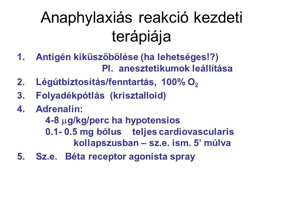 Anaphylaxiás reakció kezdeti terápiája 1.Antigén kiküszöbölése (ha lehetséges!?) Pl. anesztetikumok leállítása 2.Légútbiztosítás/fenntartás, 100% O 2