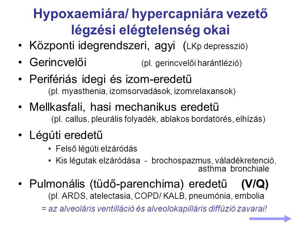 Hypoxaemiára/ hypercapniára vezető légzési elégtelenség okai Központi idegrendszeri, agyi ( LKp depresszió) Gerincvelői (pl. gerincvelői harántlézió)