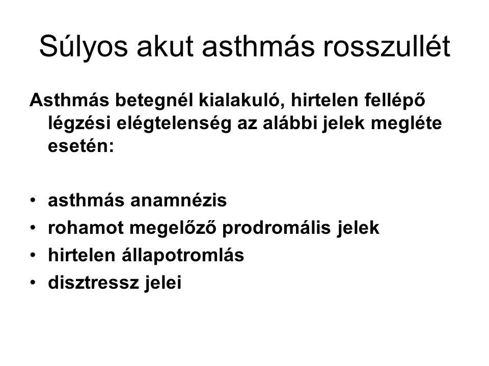 9 Súlyos akut asthmás rosszullét Asthmás betegnél kialakuló, hirtelen fellépő légzési elégtelenség az alábbi jelek megléte esetén: asthmás anamnézis r