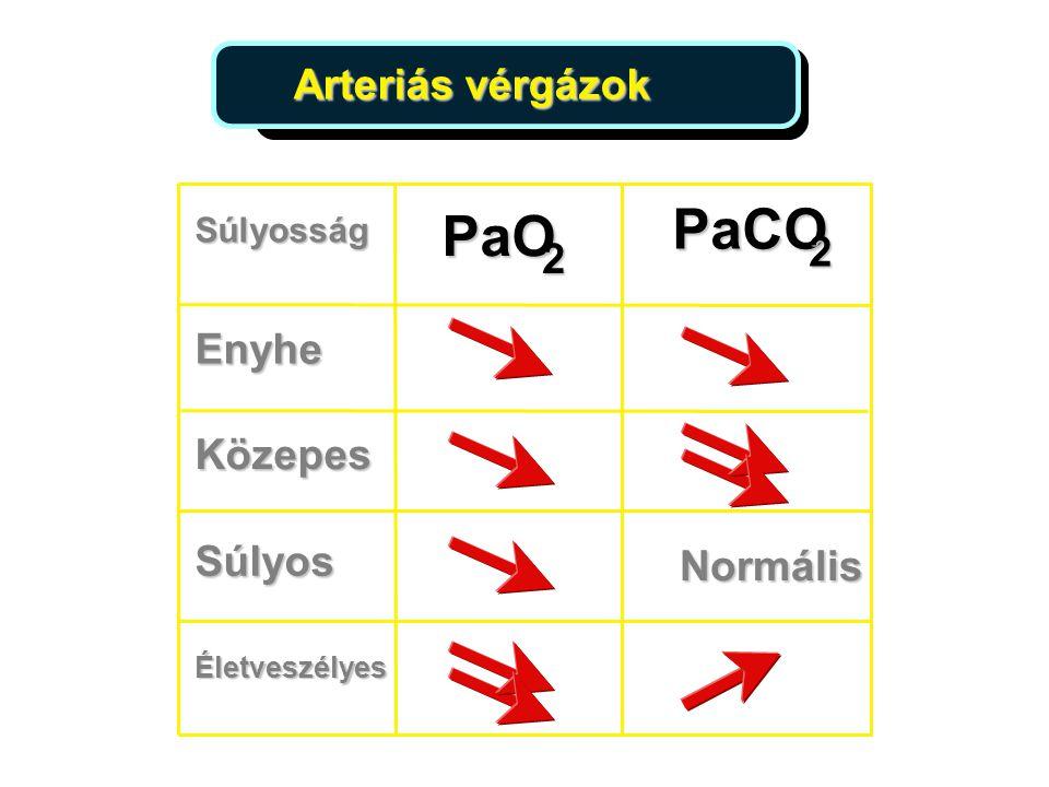Arteriás vérgázok PaO 2 Súlyosság Enyhe Közepes Súlyos Normális Életveszélyes PaCO 2 16