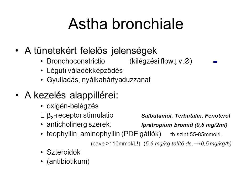 Astha bronchiale A tünetekért felelős jelenségek Bronchoconstrictio (kilégzési flow↓ v.Ǿ) Léguti váladékképződés Gyulladás, nyálkahártyaduzzanat A kez