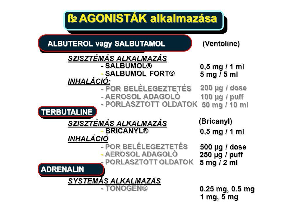 ß 2 AGONISTÁK alkalmazása AGONISTÁK alkalmazása ALBUTEROL vagy SALBUTAMOL (Ventoline) SZISZTÉMÁS ALKALMAZÁS - SALBUMOL® 0,5 mg / 1 ml - SALBUMOL FORT®