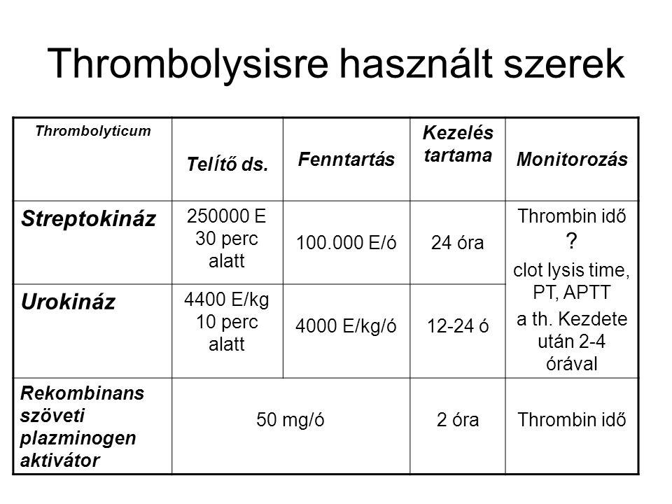 Thrombolysisre használt szerek Thrombolyticum Tel í tő ds. Fenntartás Kezelés tartama Monitorozás Streptokináz 250000 E 30 perc alatt 100.000 E/ó24 ór