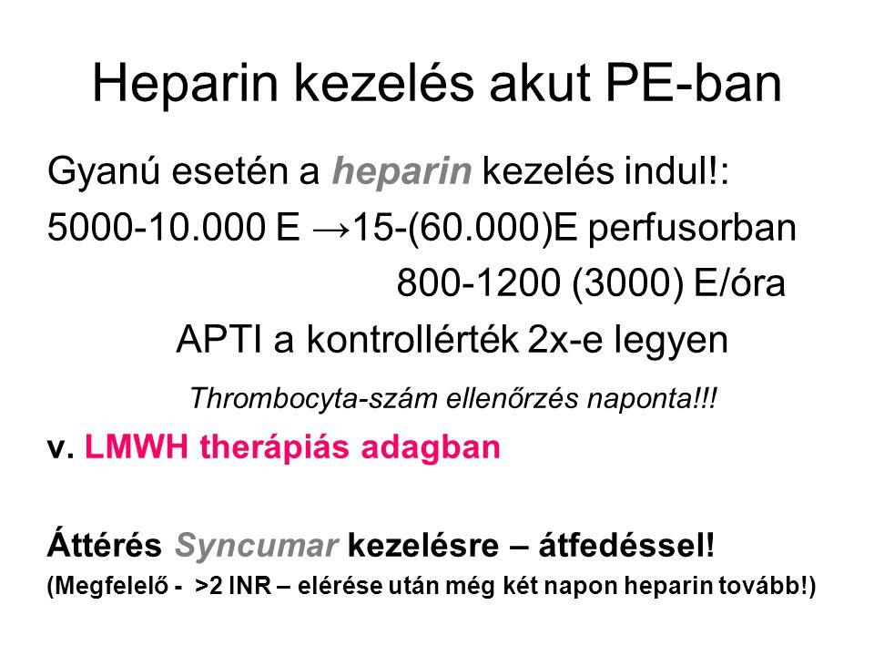 Heparin kezelés akut PE-ban Gyanú esetén a heparin kezelés indul!: 5000-10.000 E →15-(60.000)E perfusorban 800-1200 (3000) E/óra APTI a kontrollérték