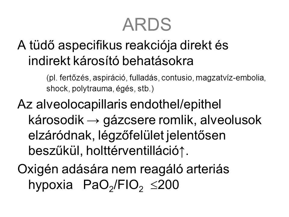 ARDS A tüdő aspecifikus reakciója direkt és indirekt károsító behatásokra (pl. fertőzés, aspiráció, fulladás, contusio, magzatvíz-embolia, shock, poly