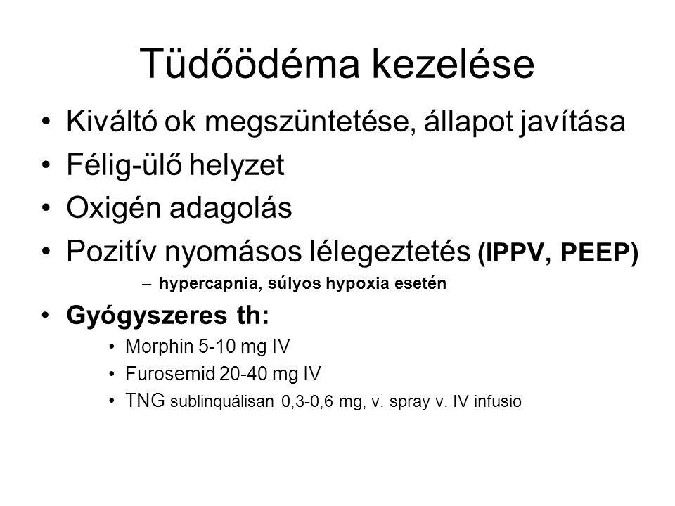 Tüdőödéma kezelése Kiváltó ok megszüntetése, állapot javítása Félig-ülő helyzet Oxigén adagolás Pozitív nyomásos lélegeztetés (IPPV, PEEP) –hypercapni
