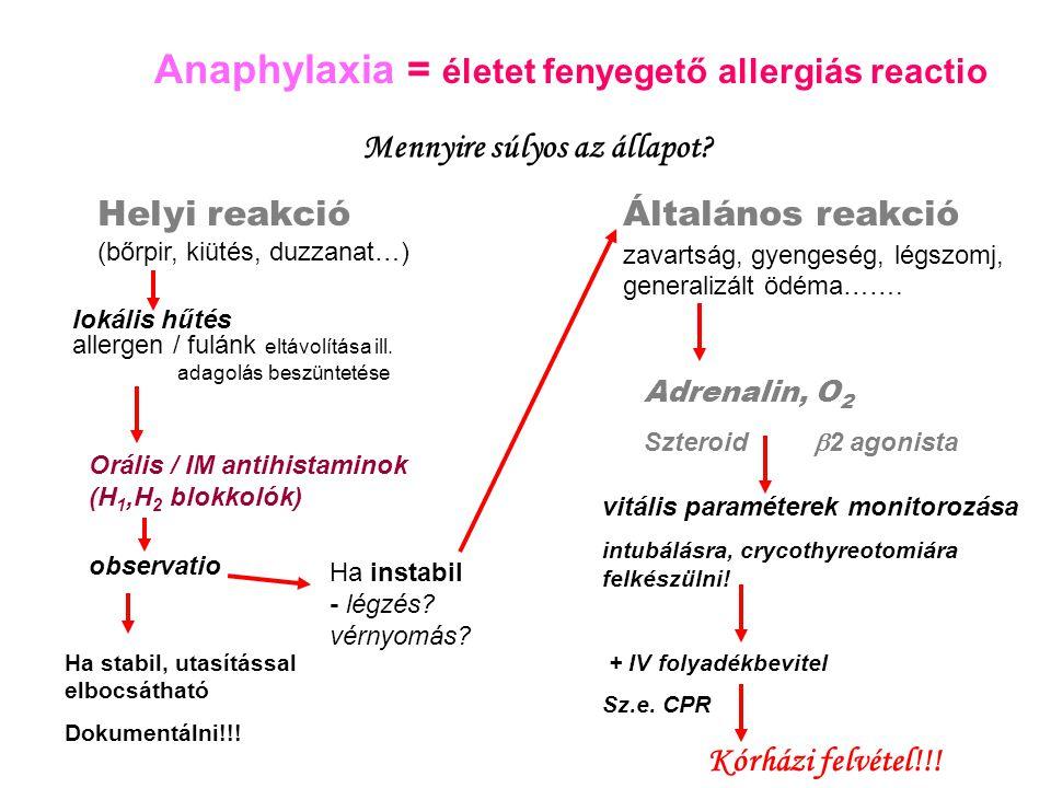 Anaphylaxia = életet fenyegető allergiás reactio Mennyire súlyos az állapot? Helyi reakció (bőrpir, kiütés, duzzanat…) lokális hűtés allergen / fulánk