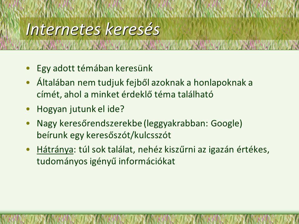 Internetes keresés Egy adott témában keresünk Általában nem tudjuk fejből azoknak a honlapoknak a címét, ahol a minket érdeklő téma található Hogyan jutunk el ide.