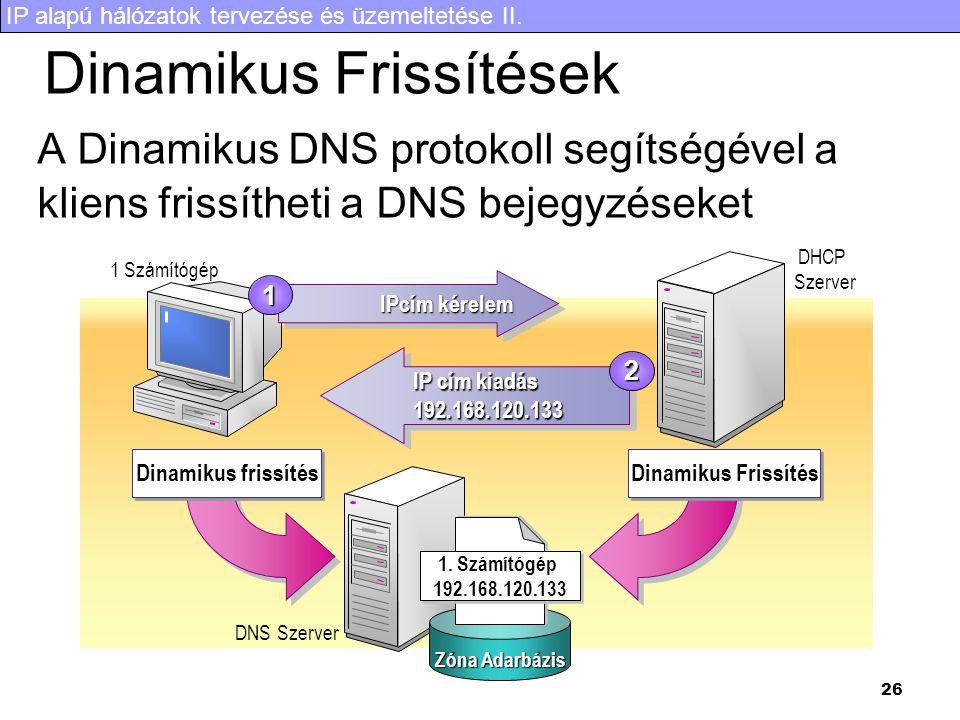 IP alapú hálózatok tervezése és üzemeltetése II. 26 Dinamikus Frissítések A Dinamikus DNS protokoll segítségével a kliens frissítheti a DNS bejegyzése