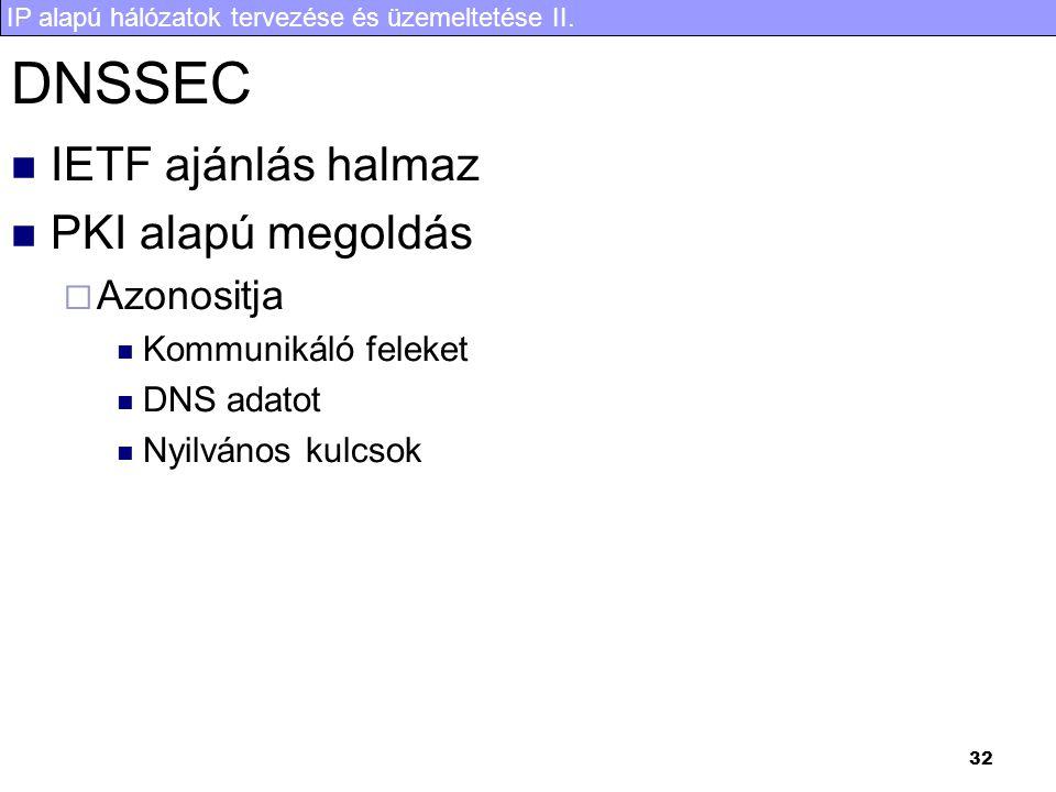IP alapú hálózatok tervezése és üzemeltetése II. 32 DNSSEC IETF ajánlás halmaz PKI alapú megoldás  Azonositja Kommunikáló feleket DNS adatot Nyilváno
