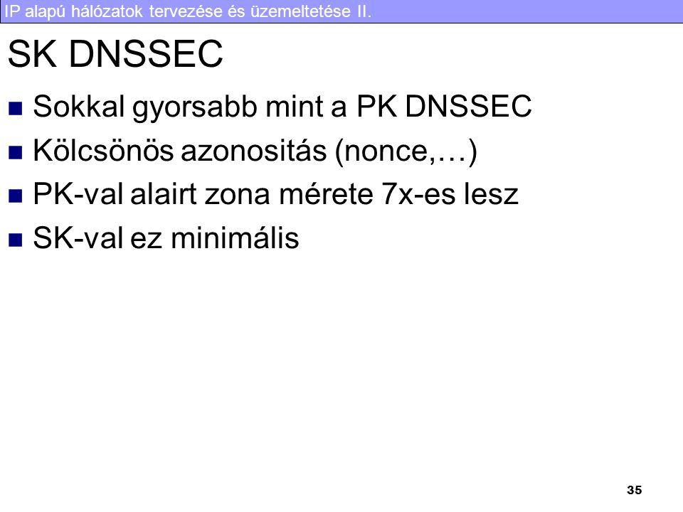 IP alapú hálózatok tervezése és üzemeltetése II. 35 SK DNSSEC Sokkal gyorsabb mint a PK DNSSEC Kölcsönös azonositás (nonce,…) PK-val alairt zona méret