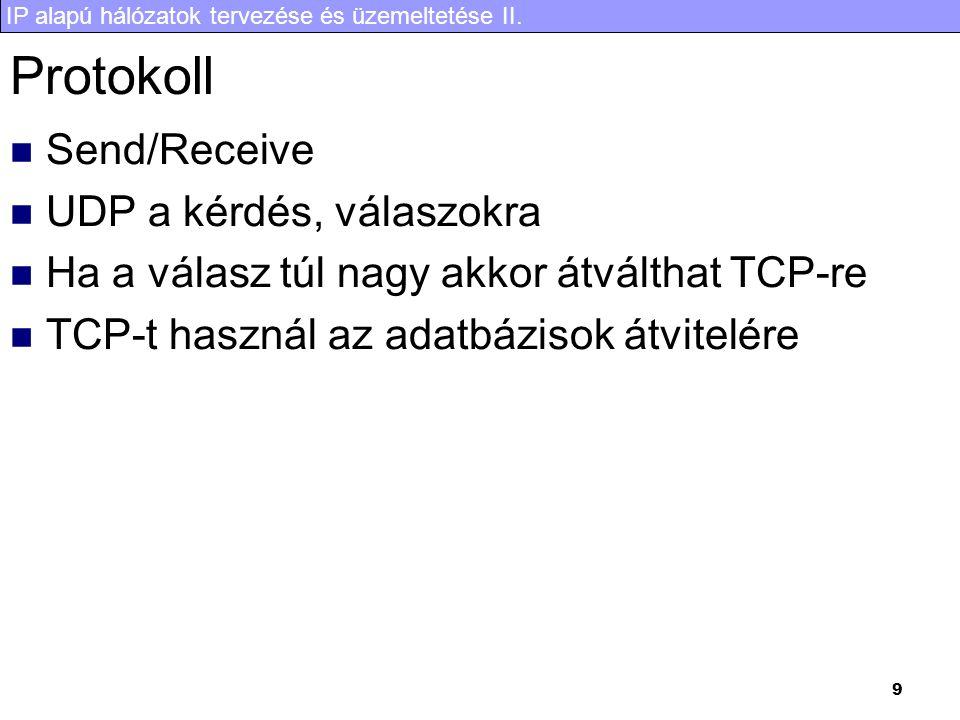 IP alapú hálózatok tervezése és üzemeltetése II. 9 Protokoll Send/Receive UDP a kérdés, válaszokra Ha a válasz túl nagy akkor átválthat TCP-re TCP-t h